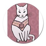 Rose Cat Round Car Magnet