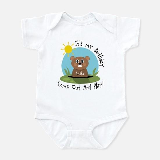 Krista birthday (groundhog) Infant Bodysuit