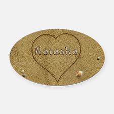 Natasha Beach Love Oval Car Magnet