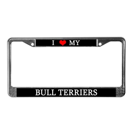 Love Bull Terriers License Plate Frame