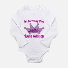 Unique First birthday diva Long Sleeve Infant Bodysuit