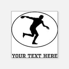 Discus Throw Silhouette Oval (Custom) Sticker