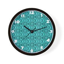 Blue Tiki Wood Design Wall Clock