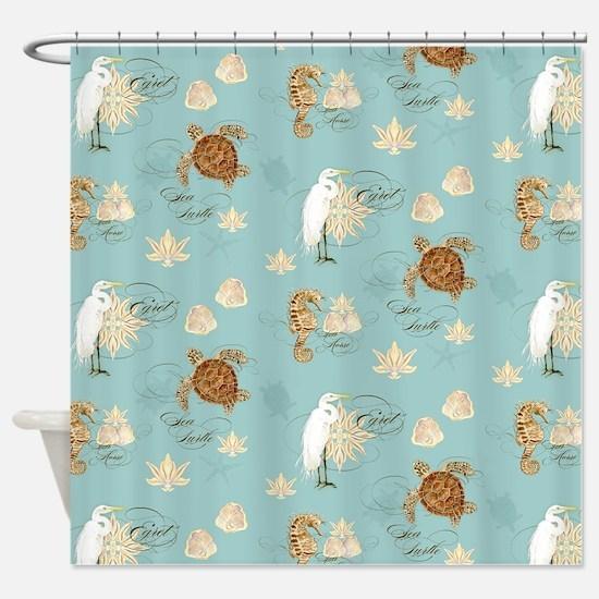 Beach Egret Sea Turtle Sea horse Sh Shower Curtain
