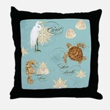 Beach Egret Sea Turtle Sea horse Shel Throw Pillow