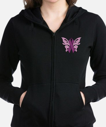 PURPLE RIBBON Women's Zip Hoodie