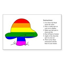 Rainbow Mushroom Rectangle Decal
