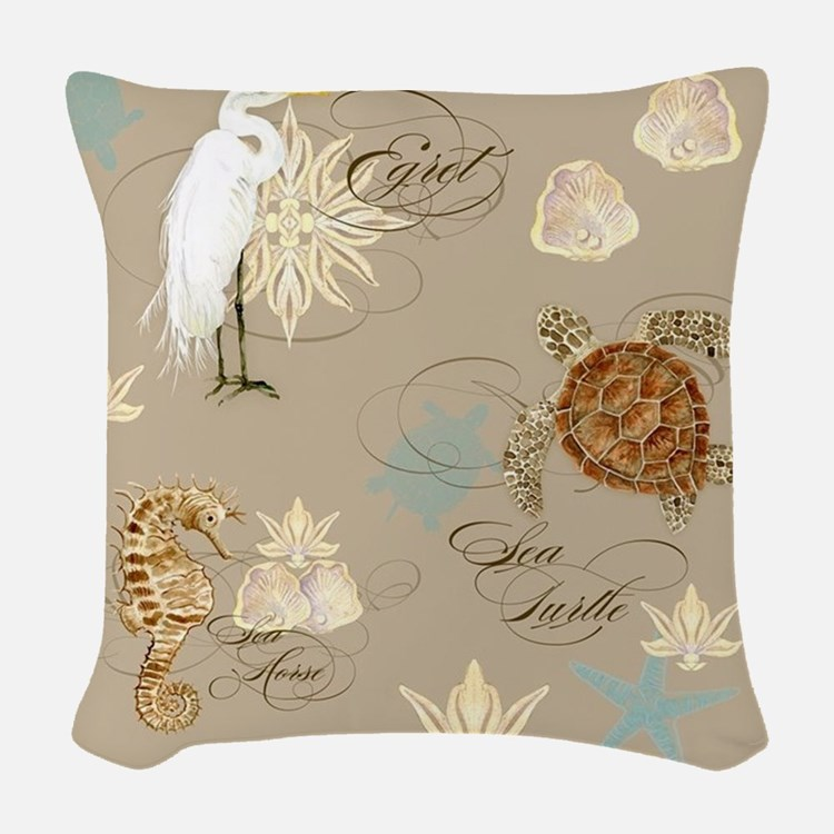 coastal waterways egret sea tu woven throw pillow - Decorative Couch Pillows