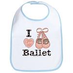I Love Ballet Shoes Baby Ballerina Pink Brown Bib