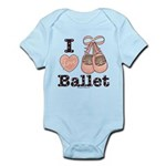 I Love Ballet Shoes Baby Pink Brown Infant Onesie