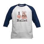 I Love Ballet Pink Brown Blue Kids Baseball Jersey