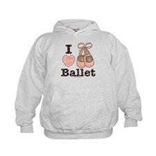I Love Ballet Shoes Pink Brown Dance Hoodie
