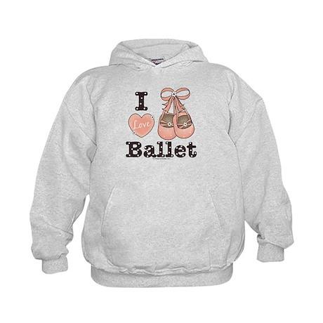 I Love Ballet Shoes Pink Brown Dance Kids Hoodie