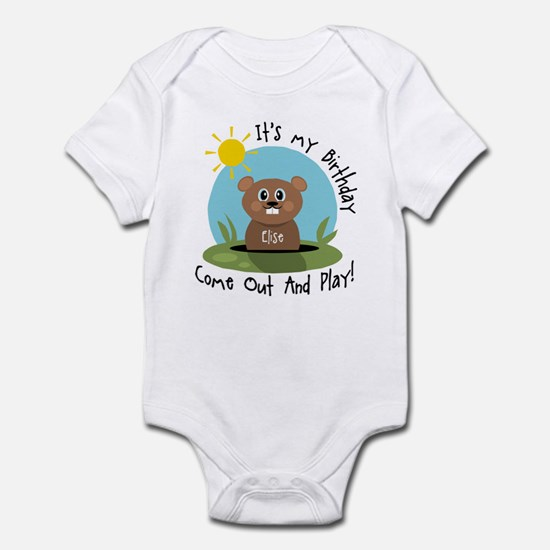 Elise birthday (groundhog) Infant Bodysuit