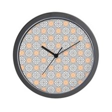 Geometric Circles Orange & Gray Wall Clock
