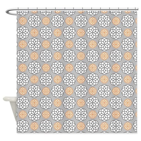 Geometric Circles Orange Gray Shower Curtain By Admin CP117476900