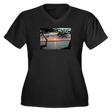 Sunset Carmel, Ca. Women's Plus Size V-Neck Dark T