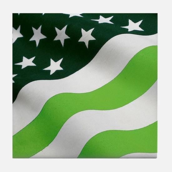 Green flag Tile Coaster