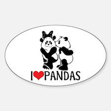 I (Heart) Pandas Oval Decal