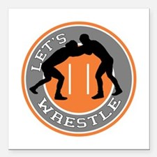 "Let's Wrestle Square Car Magnet 3"" x 3"""