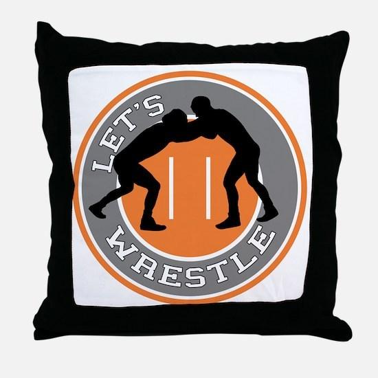 Let's Wrestle Throw Pillow