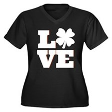 Lucky Clover Women's Plus Size V-Neck Dark T-Shirt