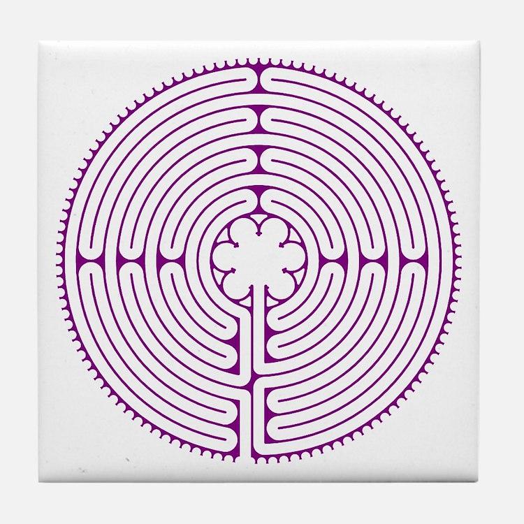 Chartres Labyrinth Tile Coaster - Purple