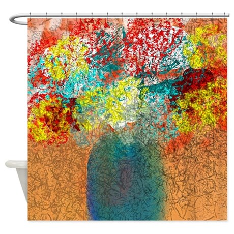 Flowers In Yellow Aqua Red Shower Curtain By Listing