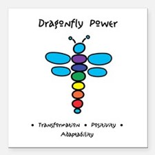 Dragonfly Power Adaptability Square Car Magnet 3""