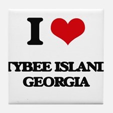 I love Tybee Island Georgia Tile Coaster
