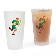 Rugby Player Fend Off Low Polygon Drinking Glass