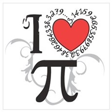 I Heart Pi Wall Art Poster