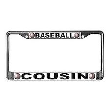 Baseball Cousin Chrome Steel License Plate Frame