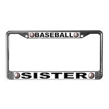 Baseball Sister Chrome Steel License Plate Frame