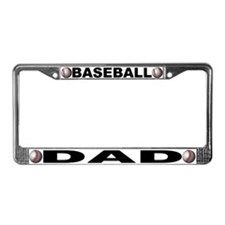 Baseball Dad Chrome Steel License Plate Frame