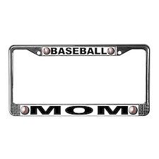 Baseball Mom Chrome Steel License Plate Frame