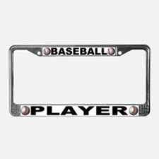 Baseball Player Chrome Steel License Plate Frame