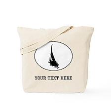 Sail Boat Silhouette Oval (Custom) Tote Bag