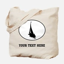 Sail Boat Silhouette Oval (Custom) Tote Bag