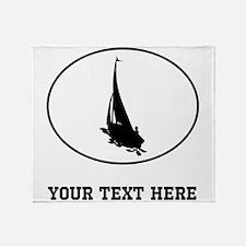 Sail Boat Silhouette Oval (Custom) Throw Blanket