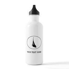 Sail Boat Silhouette Oval (Custom) Water Bottle