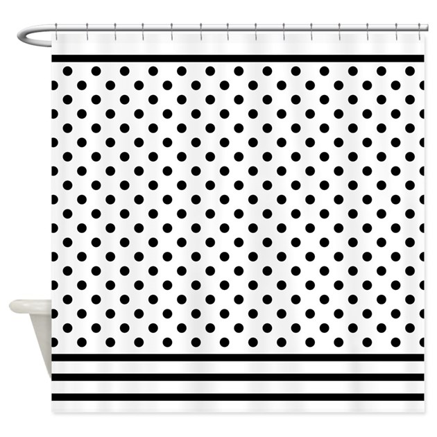 polka dots black and white shower curtain by mainstreethomewares. Black Bedroom Furniture Sets. Home Design Ideas