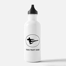 Jump Kick Silhouette Oval (Custom) Water Bottle