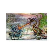 Cute Dragon on castle Rectangle Magnet