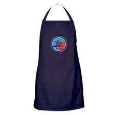 Grizzly Bear Angry Circle Retro Apron (dark)
