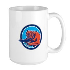 Grizzly Bear Angry Circle Retro Mugs