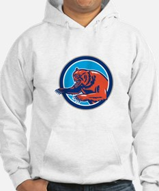 Grizzly Bear Angry Circle Retro Hoodie
