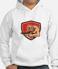 Grizzly Bear Angry Shield Retro Hoodie
