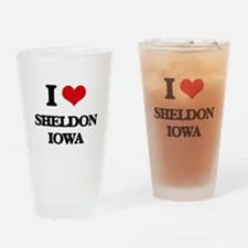 I love Sheldon Iowa Drinking Glass