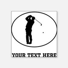 Golfer Silhouette Oval (Custom) Sticker